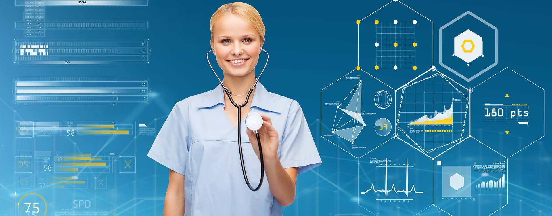 smiling female nurse with stethoscope
