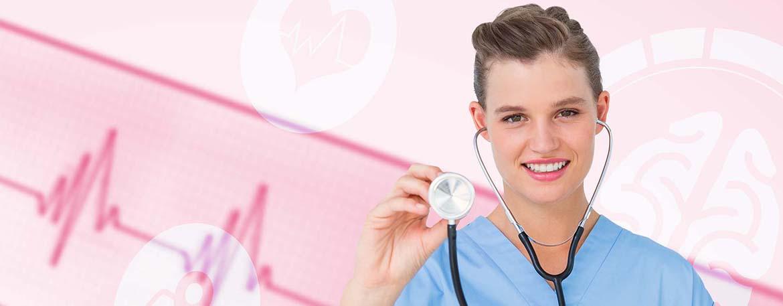 Composite image of smiling nurse using stethoscope